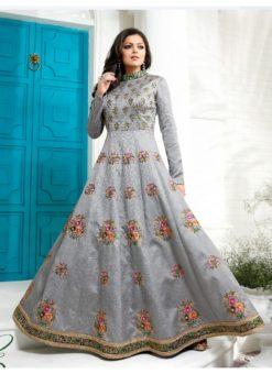 Grey Art Silk Embroidered Wrok Designer Anarkali Suit