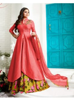 Pink Art Silk Party Wear Designer Skirt Kameez