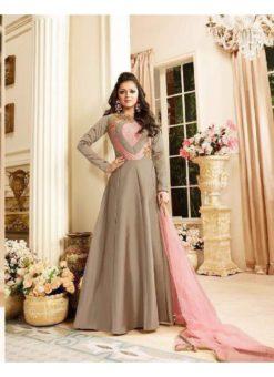 Beige Art Silk Party Wear Designer Embroidered Anarkali Suit