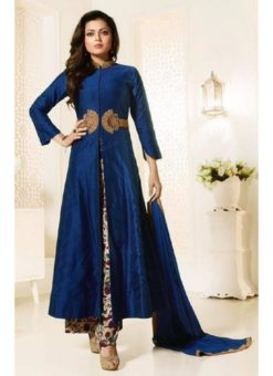 Blue Art Silk Designer Party Wear Embroidered Work Pant Style Suit