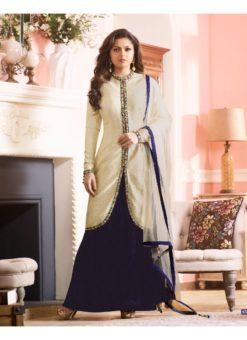 Blue Art Silk Jacket Style Designer Wedding Anarkali Suit