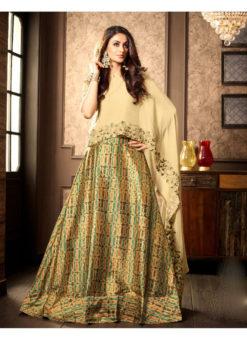 Beige Georgette N Silk Partywear Designer Lehenga Choli