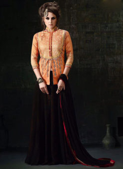 Orange Georgette And Silk Embroidered Work Designer Lehenga Suit