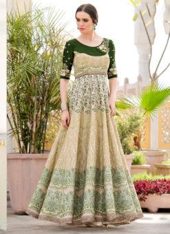 Green Silk 2 in 1 Wedding Wear A-Line Lehenga & Gown