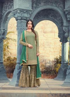 Green Georgette Pakistani Designer Party Wear Sharara Kameez