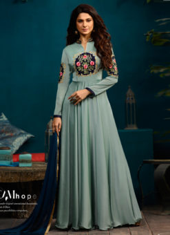 Jennifer Winget Blue Silk Georgette Evening Wear Floor Length Kurti