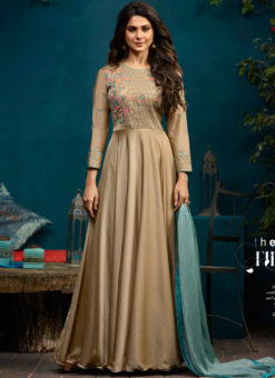 Jennifer Winget Beige Silk Georgette Party Wear Floor Length Kurti