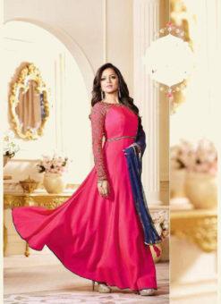 Pink Art Silk Embroidered Designer Party Wear Anarkali Suit