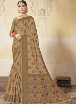 Beige Art Silk Zari Weaving Designer Saree
