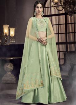 Green Net Embroidered Work Designer Wedding Lehenga Choli