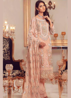 Lovely Peach Georgette And Net Designer Pakistani Suit