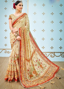 Beige Banarsi Silk Party & Festival Wear Digital Printed Sarees
