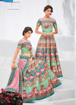 Pista Green Silk Wedding & Party Wear 2 in 1 Lehenga Gown