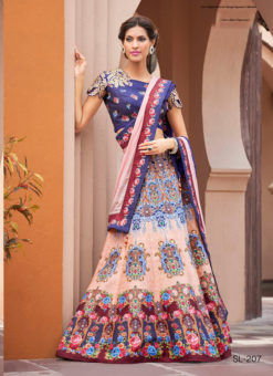 Blue Silk Wedding & Party Wear 2 in 1 Lehenga Gown