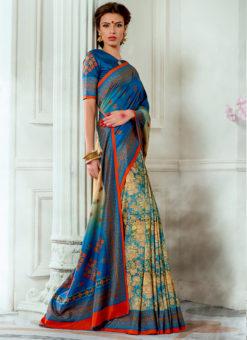 Blue Tussar Silk Party & Festival Wear Digital Printed Sarees