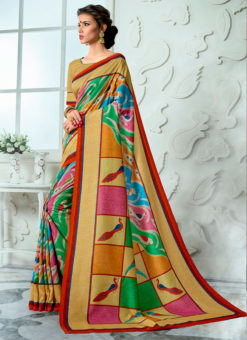 Beige Tussar Silk Party & Festival Wear Digital Printed Sarees
