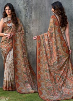 Multicolor Tussar Silk Party & Festival Wear Digital Printed Sarees