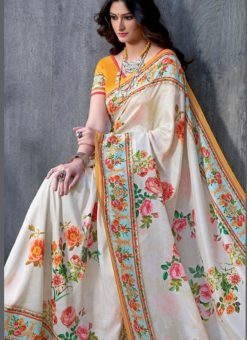 Yellow Tussar Silk Party & Festival Wear Digital Printed Sarees