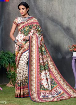 Off White Tussar Silk Party & Festival Wear Digital Printed Sarees