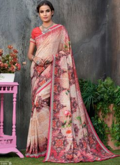 Red Tussar Silk Party & Festival Wear Digital Printed Sarees