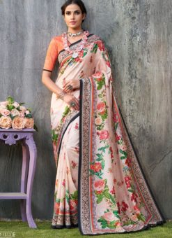 Orange Tussar Silk Party & Festival Wear Digital Printed Sarees