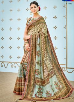 Ice Blue Banarsi Silk Party & Festival Wear Digital Printed Sarees