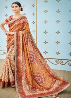Multicolor Banarsi Silk Party & Festival Wear Digital Printed Sarees