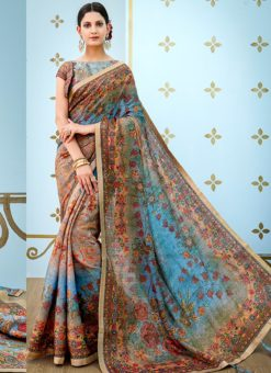 Blue Banarsi Silk Party & Festival Wear Digital Printed Sarees