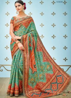 Green Banarsi Silk Party & Festival Wear Digital Printed Sarees