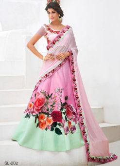 Pink Silk Wedding & Party Wear 2 in 1 Lehenga Gown
