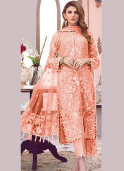 Lovely Orange Net Designer Party Wear Pakistani Suit