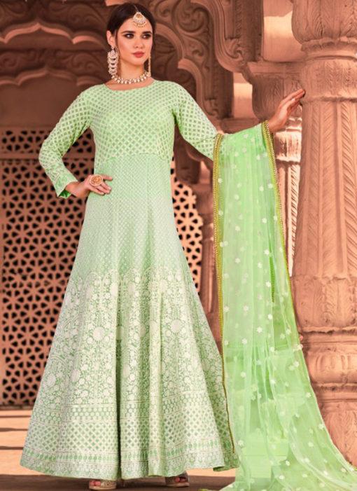 Green Georgette Embroidered Work Designer Anarkali Suit