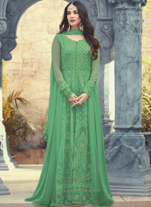 Green Georgette Embroidered Work Wedding Wear Anarkali Suit