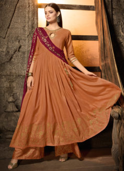 Orange Masleen For Wedding Ceremony Palazzo Suit