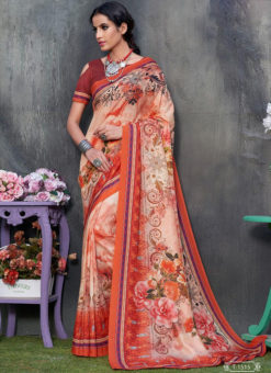 Brown Tussar Silk Party & Festival Wear Digital Printed Sarees