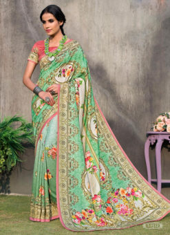 Pink Tussar Silk Party & Festival Wear Digital Printed Sarees