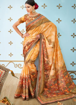 Orange Banarsi Silk Party & Festival Wear Digital Printed Sarees