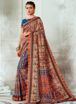 Blue Tussar Silk Party & Festival Wear Digital Printed Sarees
