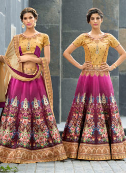Beige Silk 2 in 1 Wedding Wear A-Line Lehenga & Gown