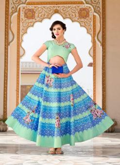 Pista Green Silk 2 in 1 Wedding Wear A-Line Lehenga & Gown