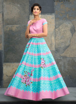 Pink Silk 2 in 1 Wedding Wear A-Line Lehenga & Gown