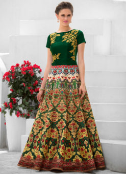 Green Pure Satin 2 in 1 Wedding Wear A-Line Lehenga & Gown