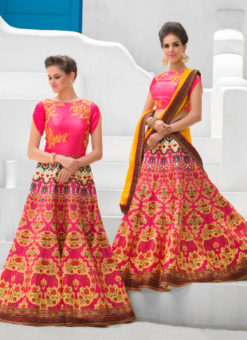 Pink Pure Satin 2 in 1 Wedding Wear A-Line Lehenga & Gown