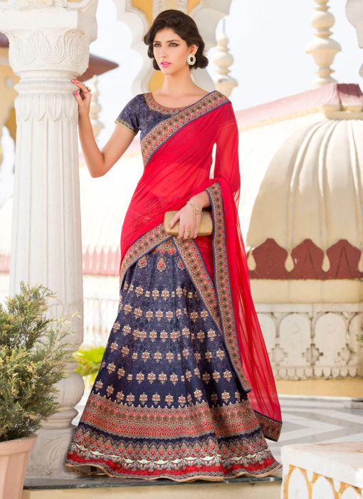 Blue Pure Satin 2 in 1 Wedding Wear A-Line Lehenga & Gown