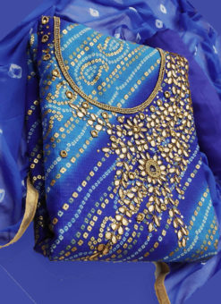 Elegant Blue Silk Designer Bandhej Dress Material