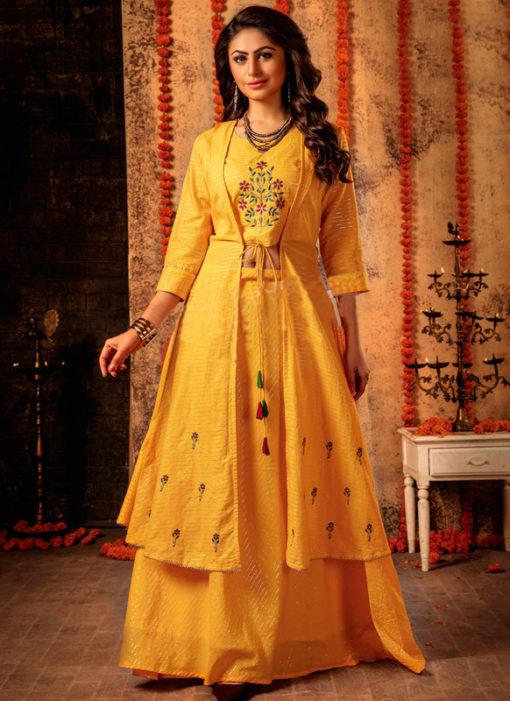 Jazzy Yellow Mal Designer Jacket Style Lehenga Choli