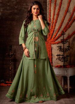 Elegant Green Mal Designer Jacket Style Lehenga Choli