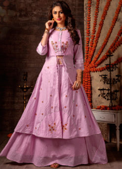 Amazing Pink Mal Designer Jacket Style Lehenga Choli