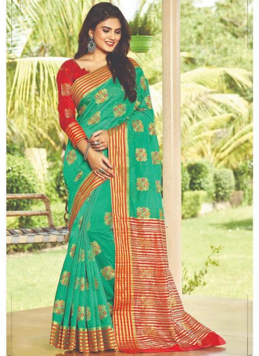 Sea Green Cotton Silk Designer Zari Weaving Traditional Wear Saree