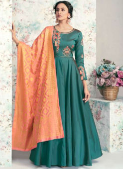 Sea Green Taffeta Silk Embroidered Work Party Wear Designer Gown